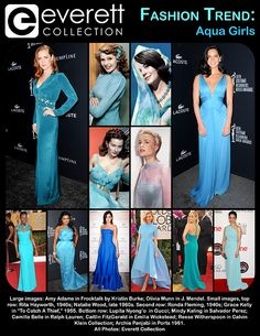 """Large images: Amy Adams in Frocktalk by Kristin Burke; Olivia Munn in J. Mendel. Small images, top row: Rita Hayworth, 1940s; Natalie Wood, late 1960s. Second row: Ronda Fleming, 1940s; Grace Kelly in """"To Catch A Thief,"""" 1955. Bottom row: Lupita Nyong'o in Gucci; Mindy Kaling in Salvador Perez; Camilla Belle in Ralph Lauren; Caitlin FitzGerald in Emilia Wickstead; Reese Witherspoon in Calvin Klein Collection; Archie Panjabi in Ports 1961."""