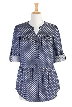Tiered polka dot jacquard shirt