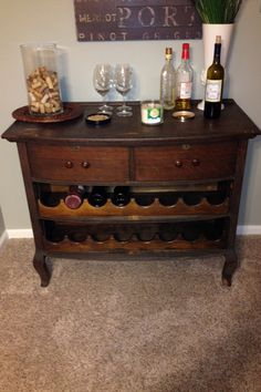 Antique dresser turned into a wine bar without compromise. Can remove the wine racks and replace with drawers if needed.