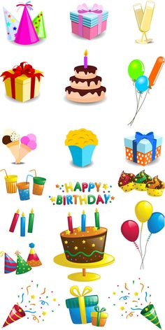 Set of 19 vector cartoon Happy Birthday decorations templates for your invitation cards, posters, Birthday flyers and cards with birthday cake, cupcakes, colorful balloons, gift boxes, candles, etc. Format: EPS or Ai stock vector clip art and illustrations. Free for…