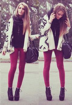 Cute! Red skinny jeans and Aztec cardigan + lace up booties