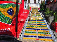 """Rio de Janeiro, Brazil A Chilean artist painted this world famous staircase. It is called """"Escadaria Selaron"""". Angers France, Escalier Art, Stairway Art, Performance Artistique, Art Du Monde, Outdoor Steps, Beautiful Stairs, Beautiful Roads, Take The Stairs"""
