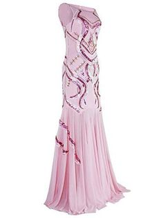 Vijiv Women's 1920s Beaded Straps A-Line Floor Length Gatsby Prom Evening Dress