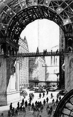 F. Schuiten Série d'illustrations pour la version luxe du livre de Jules Verne: Paris au XXe siècle