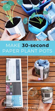 Two ways that you can make newspaper plant pots. One method gives you round pots in less than and the other makes square origami plant pots. Use either for starting seeds, or growing small plants in. Full instructional video included, Check more at. Diy Garden Projects, Garden Crafts, Garden Ideas, Easy Garden, Paper Pot, Bird Bath Garden, Glass Garden Flowers, Flower Pots, Paper Plants