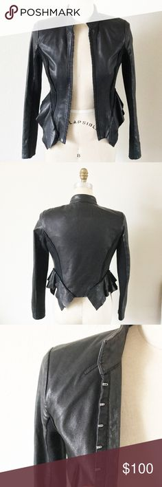 😎 HINGE LEATHER JACKET😎 Super awesome genuine leather jacket with added ruffle waist detail. In great pre-loved condition. The fabric under the arm has slight pilling, however being that it's under the arm it's not very noticeable and could also easily be fixed (taken in to consideration when priced). It's super flattering on, accentuating the waist. Nordstrom Jackets & Coats