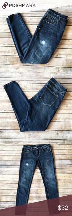 Chelsea Vigoss Super Skinny Excellent used condition, distressed vigoss skinny jeans. Inseam approx 28 inches, front rise approx 8 1/2 inches. No flaws, 98% cotton 2% spandex. Vigoss Jeans Skinny