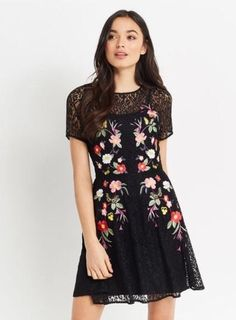 Women's Flora by Flora Nikrooz Angie Printed Knit Sleep Shirt, Size: XL, Black High Street Fashion, Midi Skater Dress, Trends, New Outfits, Floral Prints, Short Sleeve Dresses, Style Inspiration, Clothes For Women, Medium