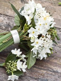 White narcissus bridal bouquet - love the paper whites