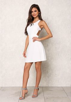 Ivory Racerback Cut Out Flare Dress - Dresses Semi Dresses, Tight Dresses, Cute Dresses, Casual Dresses, Short Dresses, Zara Fashion, Fashion Days, Fashion Outfits, Womens Fashion