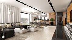 DOM W STYLU GLAMOUR - Średni salon z kuchnią z jadalnią, styl glamour - zdjęcie od PEKA STUDIO