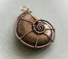 Wire wrapped rings 668573507161627321 - Ammonite shell shaped wire wrap Source by Olbia_jewelry Wire Jewelry Making, Jewelry Making Tutorials, Wire Pendant, Wire Wrapped Pendant, Seashell Jewelry, Sea Jewelry, Wire Jewellery, Handmade Jewelry, Wire Wrapping Crystals