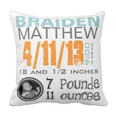 Personalized Birth Pillow With Photo First Mothers Day Giftsgifts