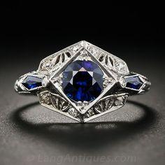 .88 Carat Sapphire Platinum and Diamond Art Deco Ring - 30-1-4263 - Lang Antiques