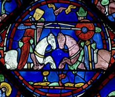 """The fight between Roland and the Saracen King Marsile"", Panel 16 from The Legends of Charlemagne window in Chartres Cathedral, c.1225 (source)."