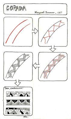 Copada tangle pattern for Zentangle Tangle Doodle, Tangle Art, Zen Doodle, Doodle Art, Zentangle Drawings, Doodles Zentangles, Doodle Drawings, Doodle Patterns, Zentangle Patterns