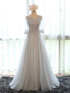Charming Appliques Long Bridesmaid Dress