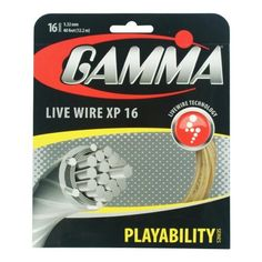"""Gamma Live Wire XP 16G Tennis String, Natural by Gamma. $14.21. Offers a firmer """"crisp"""" feel for natural gut-like playability. Zyex monofilaments added to the outerwrap provide added durability and help reduce tension loss. Multiwrap Live Wire monofibers and Zyex monofilaments with Pearl Coating.. Save 29%!"""