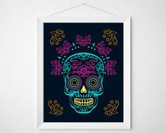 Colorful Skull Print  Mexican day of the dead by BokehEverAfter