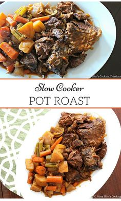 Slow Cooker Pot Roast with Potatoes, Carrots and Celery. Full of herbs and spices and NO cream soup. Healthy crock pot cooking.