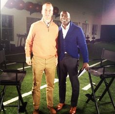 Our very own Shannon Sharpe and the one and only Peyton Manning after a sit-down interview.