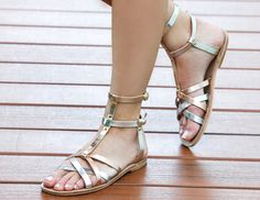 Kefalonia Silver/Bronze/Gold- Handmade on the Mediterranean island of Cyprus Types Of Sandals, Going Barefoot, Leather Material, Natural Leather, Huaraches, Calf Leather, Wedding Shoes, Leather Sandals, Lace Up