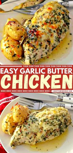 The perfect weeknight meal! This Garlic Butter Chicken is so moist, tender, and flavorful. Feel free to change up the baby potatoes with broccoli, cauliflower, or serve with angel hair pasta! Find yourself making this quick and easy dinner recipe again and again! Yummy Chicken Recipes, Yummy Recipes, Garlic Recipes, Chicken Meals, Chicken Pasta, Yummy Food, Cooking Recipes, Healthy Recipes, Cooking 101