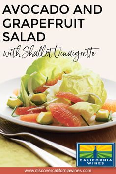 BUTTER LETTUCE, AVOCADO AND GRAPEFRUIT SALAD WITH SHALLOT VINAIGRETTE This crisp and refreshing citrus and avocado summer salad pairs perfectly with a bottle of California Pinot Gris or Sauvignon Blanc. || summer salad recipes || avocado recipes || grapefruit recipes || easy appetizers || #californiawines #summersalads