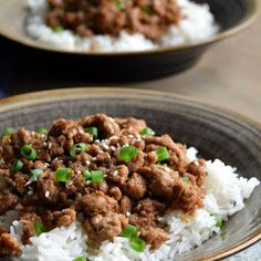 Korean Ground Turkey & Rice Bowls Recipe on Yummly. Easy to make and very tasty! Made with steamed broccoli Healthy Turkey Recipes, Beef Recipes, Chicken Recipes, Cooking Recipes, Minced Turkey Recipes, Recipies, Turkey Rice Bowl Recipe, Turkey Bowl, Clean Eating