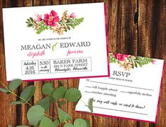 Wedding Invitation and RSVP Card  Bright Floral   by seedtosprout