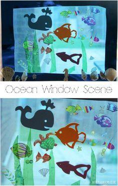 Ocean window scene craft for kids underwater theme