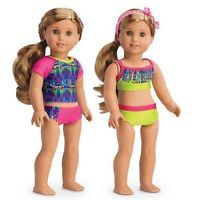 """American Girl Lea's 5 piece mix and match swimsuit swim set for 18"""" dolls NEW"""