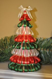 Adorable, #Festive Ribbon Christmas Tree DIY! Place A Few Of These On Your