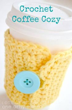 Crocheted Cup Cozy - 30 Super Easy Knitting and Crochet Patterns for Beginners