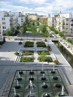 Hammarby Sjöstad, Stockholm, Sweden 197 is part of architecture - Plaza with water feature Landscape Plaza, Landscape And Urbanism, Landscape Architecture Design, Urban Architecture, Urban Landscape, Architecture Diagrams, Architecture Portfolio, Plaza Design, Public Space Design