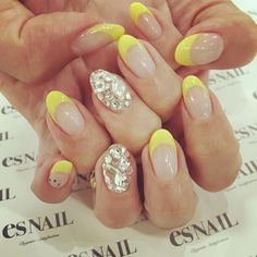 ネイル♡ ・ #nail #esnail #yellow #フレンチネイルが好き #渋谷 #詳しくはblogで