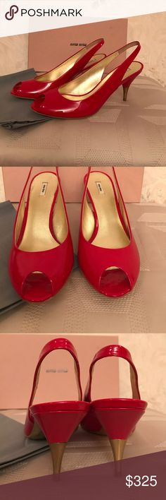 """New Miu Miu red patent leather slingback size 37.5 New Miu Miu red patent leather slingback size 37.5 Heels 3"""". Open toe. Box and Dust back included. Purchased in Neumann Marcus. No trade. Miu Miu Shoes Heels"""