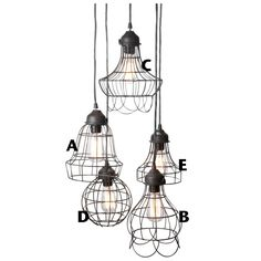 Rustic wire cage industrial pendant light