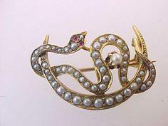Antique-Victorian-10K-Gold-Seed-Pearls-Garnet-Snake-Crescent-Moon-Watch-Pin