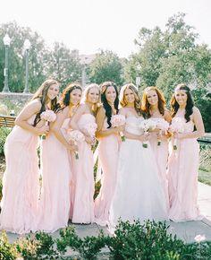 Pretty Pink Bridesmaid Dresses |: Mariel Hannah Photography | blog.theknot.com