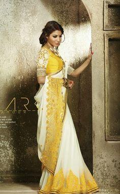 Ethnic Diva Beautiful White and Gold Yellow Resham Thread Embroidered Designer Saree