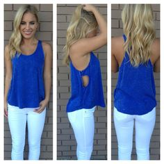 02afa9f861 Dainty Hooligans · Electric Blue Open Side Pocket Top Boutique Tops