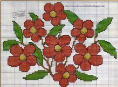 Layette Cross Stitch by Nubia Cortinhas: floral cross stitch chart