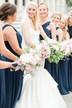 Long navy blue matching bridesmaid dresses with pink bouquets Navy Bridesmaid Dresses, Navy Blue Dresses, Navy Pink, Wedding Bouquets, Wedding Dresses, Wedding Flowers, Aruba Weddings, Something Blue Wedding, Pink Bouquet