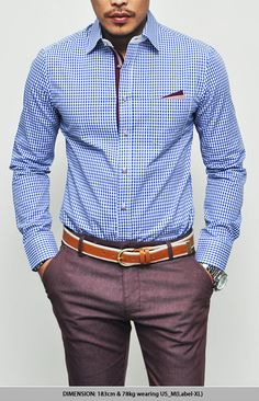 Details-Belt, trousers, button down, pocket and watch. Great color combo.