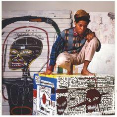 Jean-Michel Basquiat em ação em 1985, na Factory de Andy Warhol, Nova York. Foto de Lizzie Himmel.  Veja também: http://semioticas1.blogspot.com.br/2013/04/aventuras-da-percepcao.html