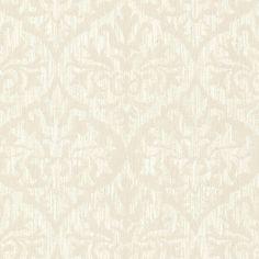 56 sq. ft. Sumatra Champagne (Beige) Ikat Damask Wallpaper