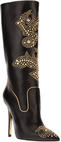 c077a127a19a pinterest.com fra411  shoes - VERSACE Embellished Boot - Lyst Sexy Boots