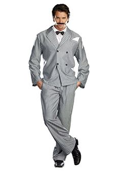 Great Group Halloween Costumes: The Addams Family - Dreamgirl Gothic Gentleman Dress, Grey/White