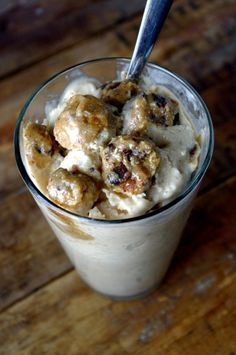 """Healthy Chocolate-Chip Cookie-Dough Protein """"Blizzard"""" (gluten free & can be vegan too!)"""
